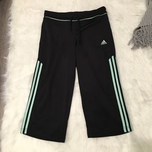 Adidas Black & Blue Stripped Carpi Gym Pants